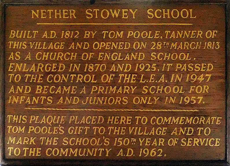 Plaque celebrating Thomas Poole's gift of the School to Nether Stowey